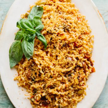 PASTA with OLIVES, ANCHOVIES, TOMATOES + BREADCRUMBS | This easy and flavorful pasta recipe is made with mostly pantry ingredients and can be on the table in under 20 minutes. #sponsored #pasta #recipe #anchovies #olives #easy #pantry | ColeyCooks.com