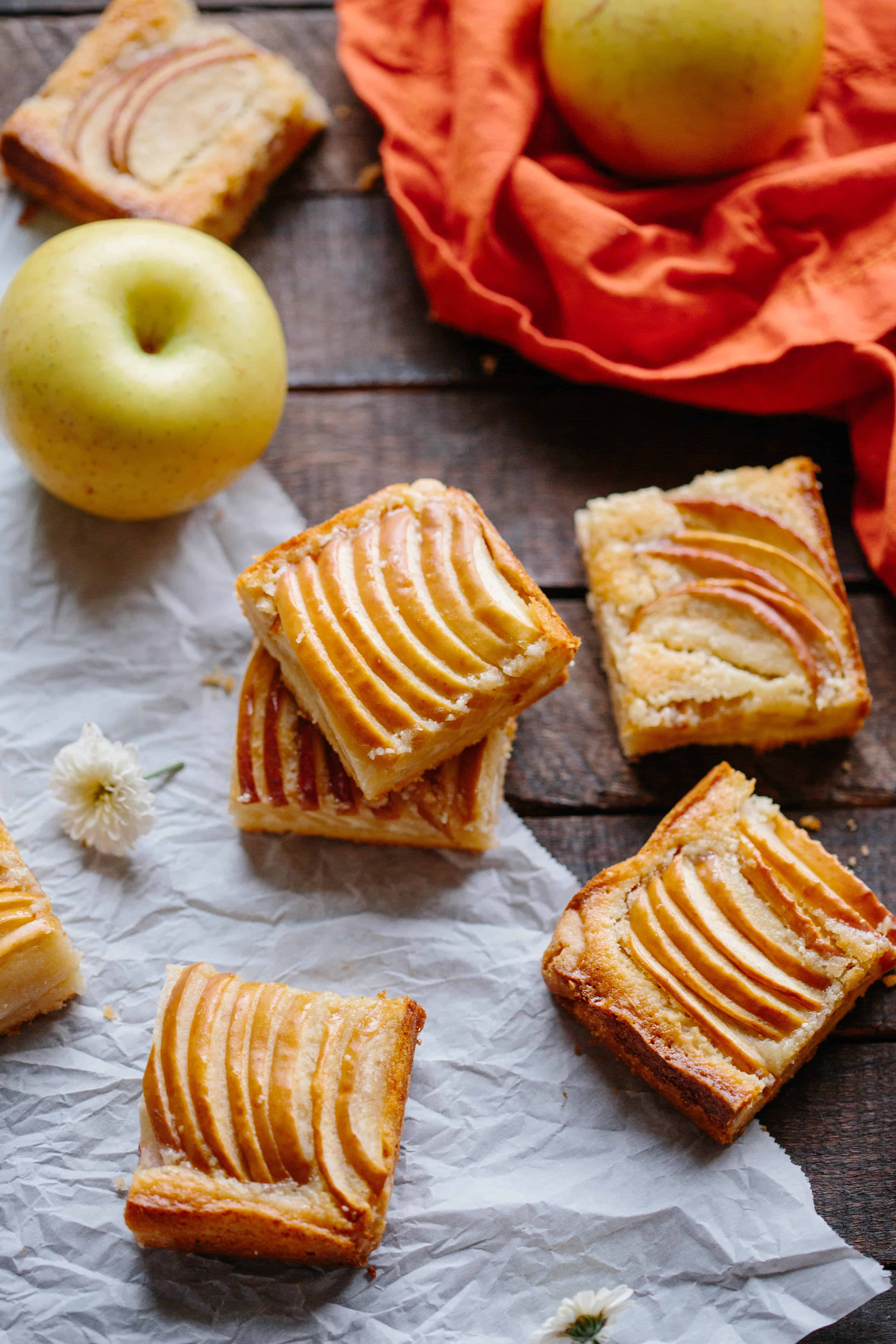 Top view of almond apple shortbread squares.