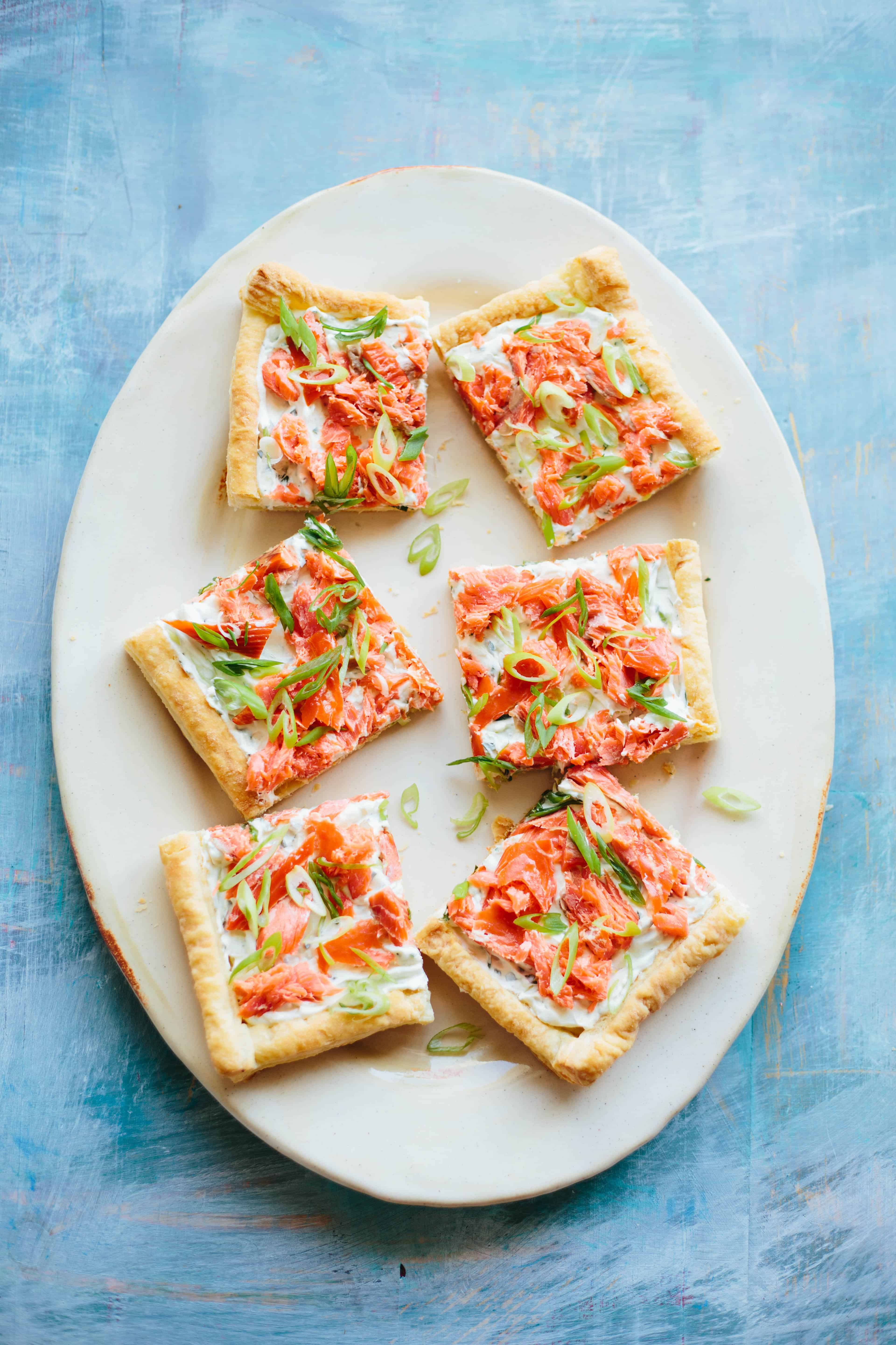 Easy Smoked Salmon Puff Pastry Tart | This simple recipe makes an easy entertaining appetizer, lunch or brunch! #smokedsalmon #puffpastry #tart #recipe #appetizer #brunch #lunch #wildsalmon | ColeyCooks.com