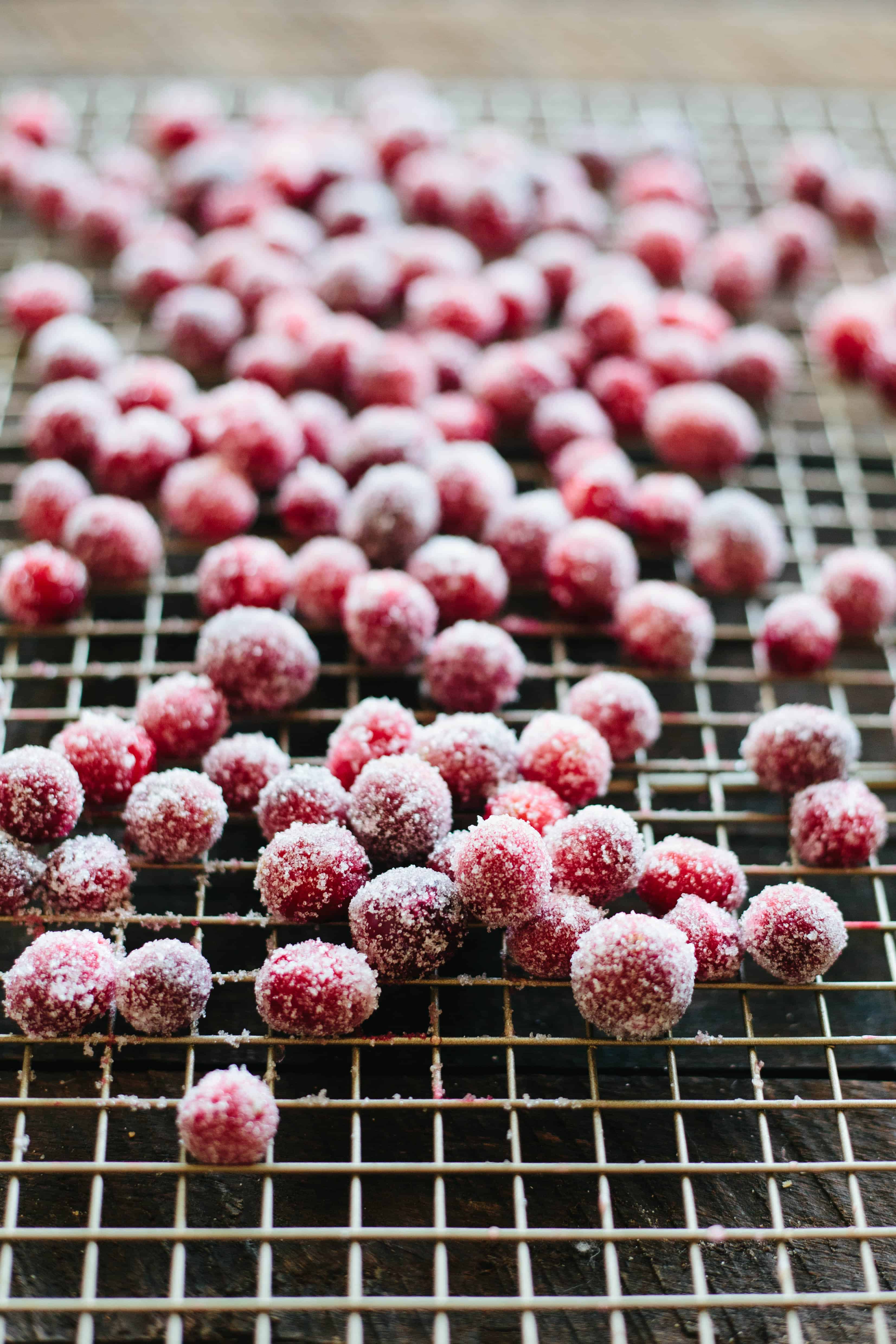 Sugared Cranberries on a wire rack
