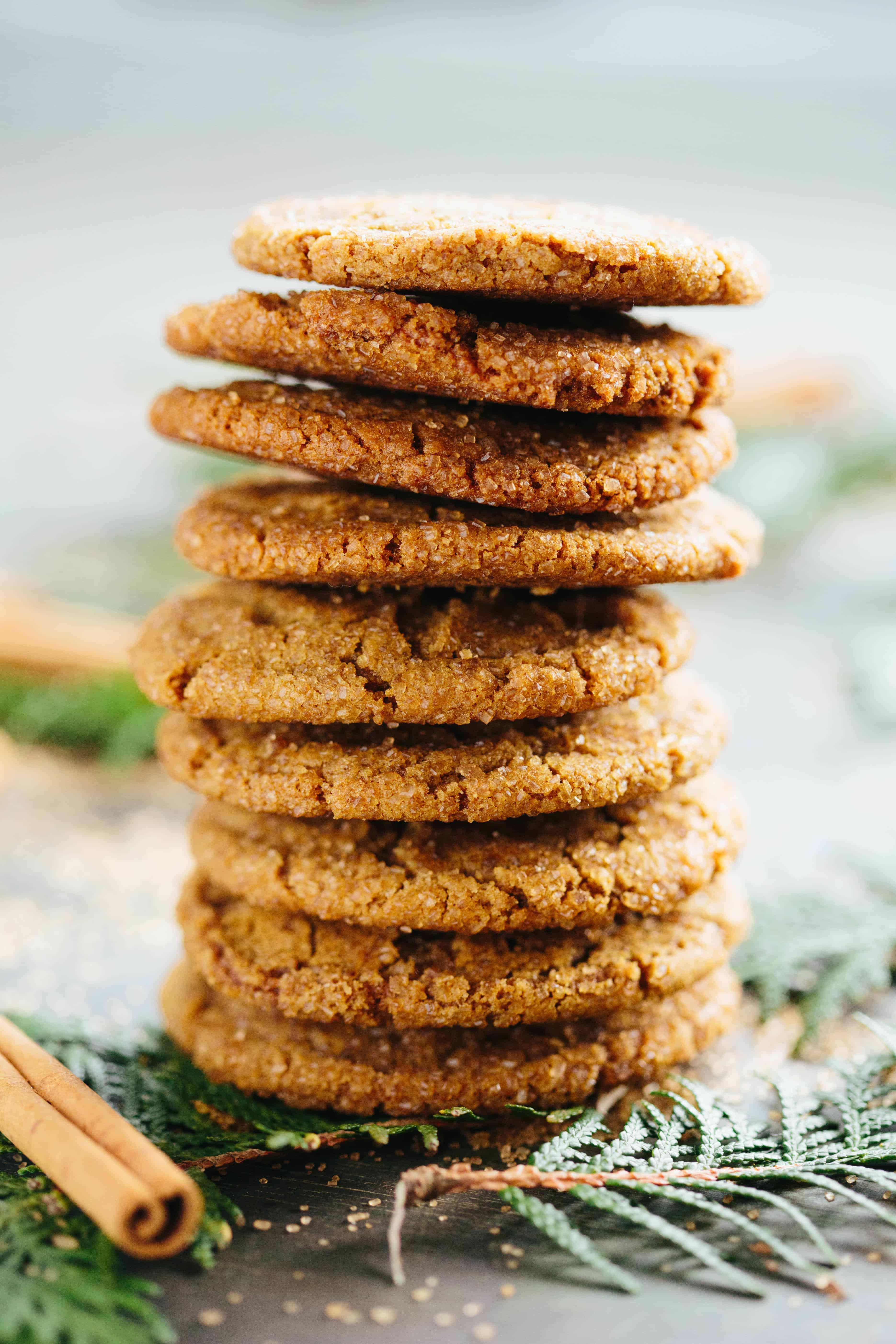 Stack of Brown Butter Ginger Molasses Cookies with cinnamon sticks and evergreen leaves in the foreground