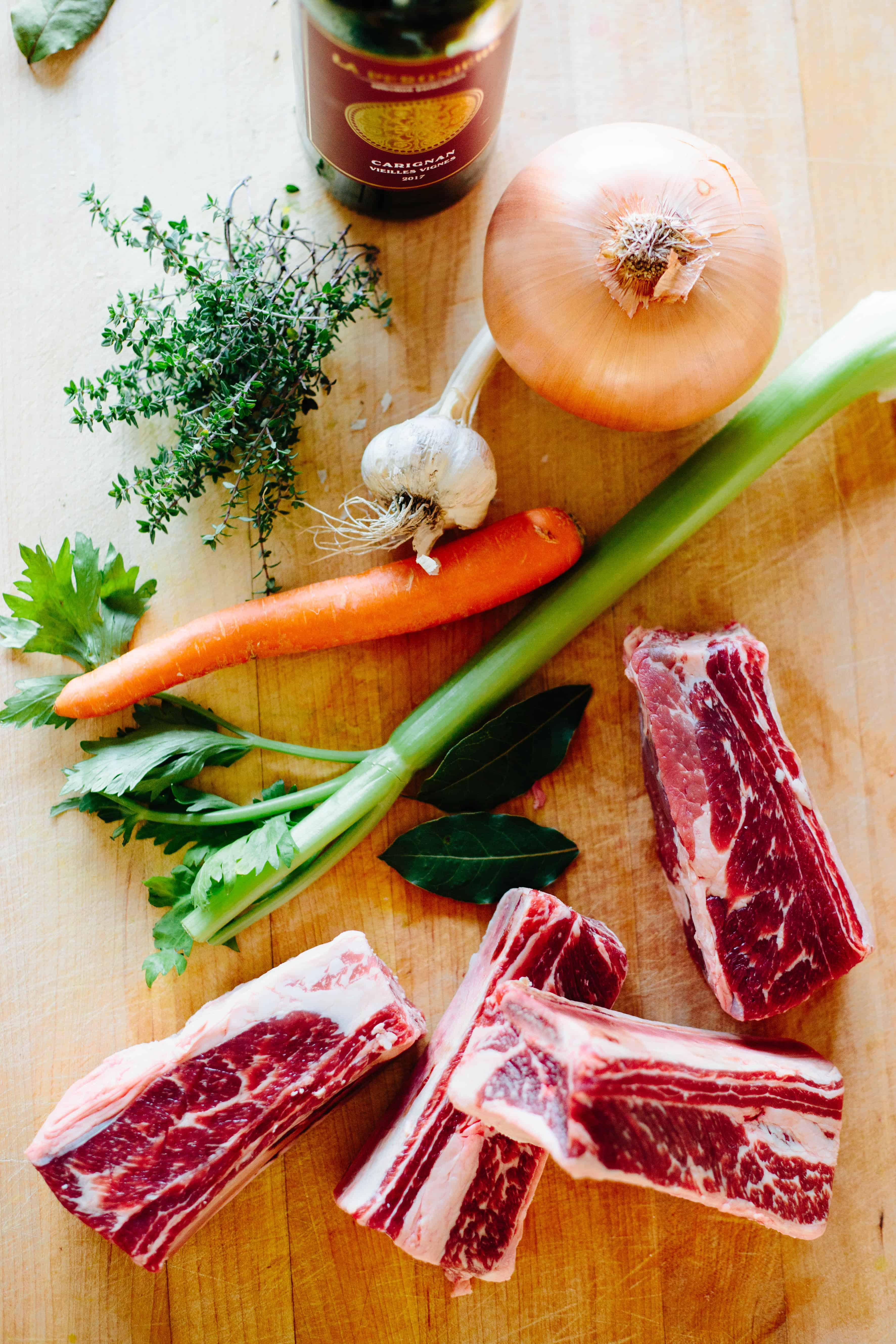 Raw ingredients for braised short ribs