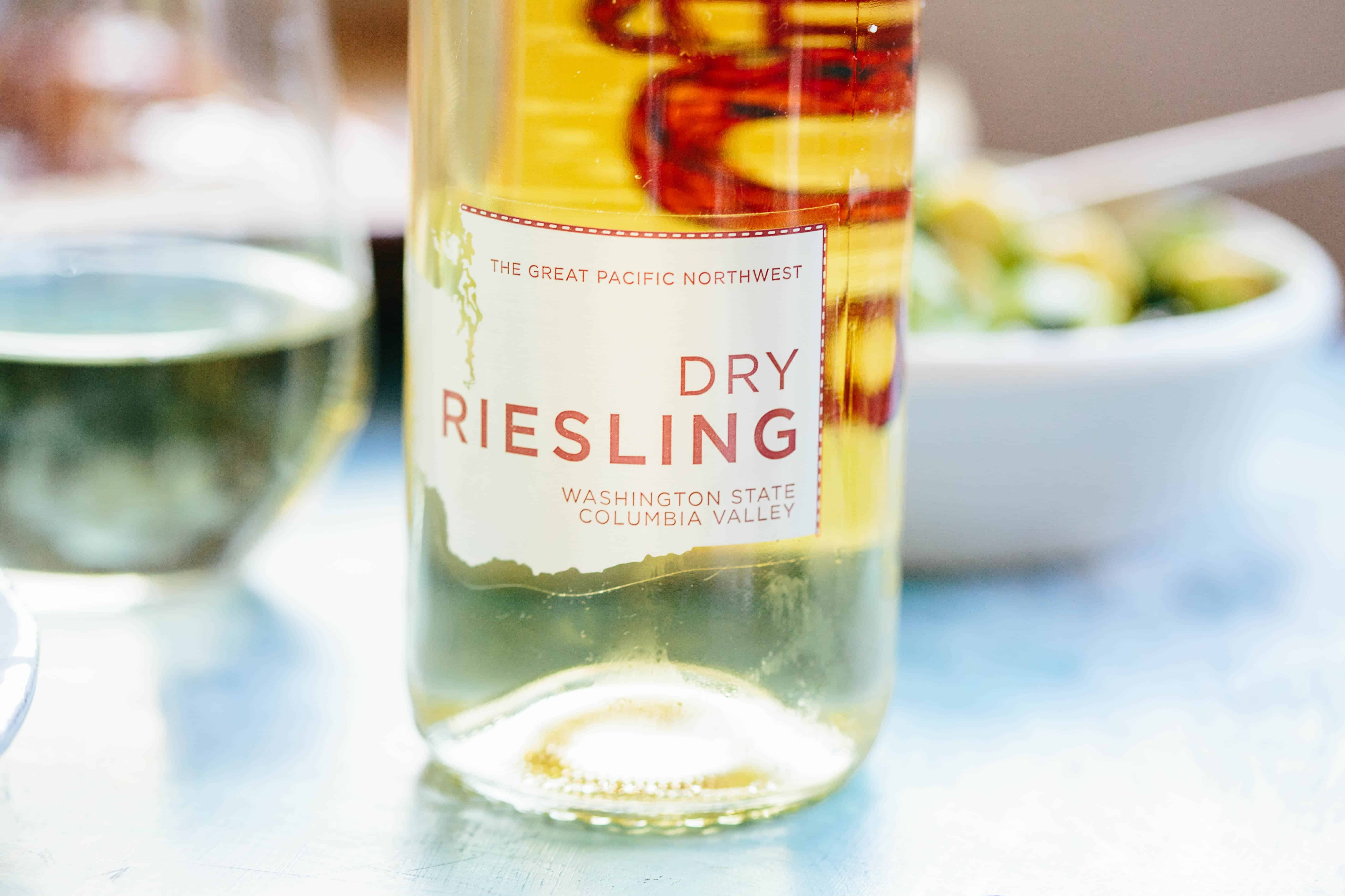 Close up of a bottle of dry riesling.
