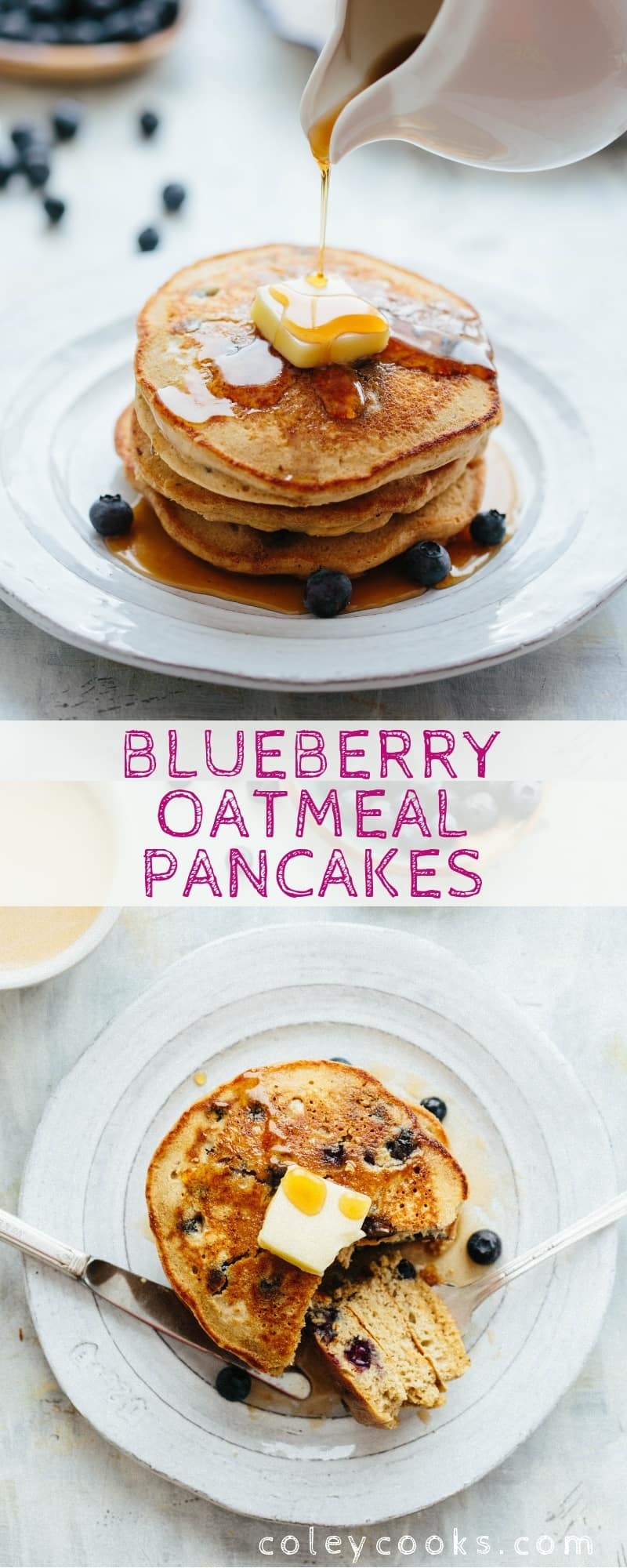 Pinterest collage of blueberry oatmeal pancakes on white plates.