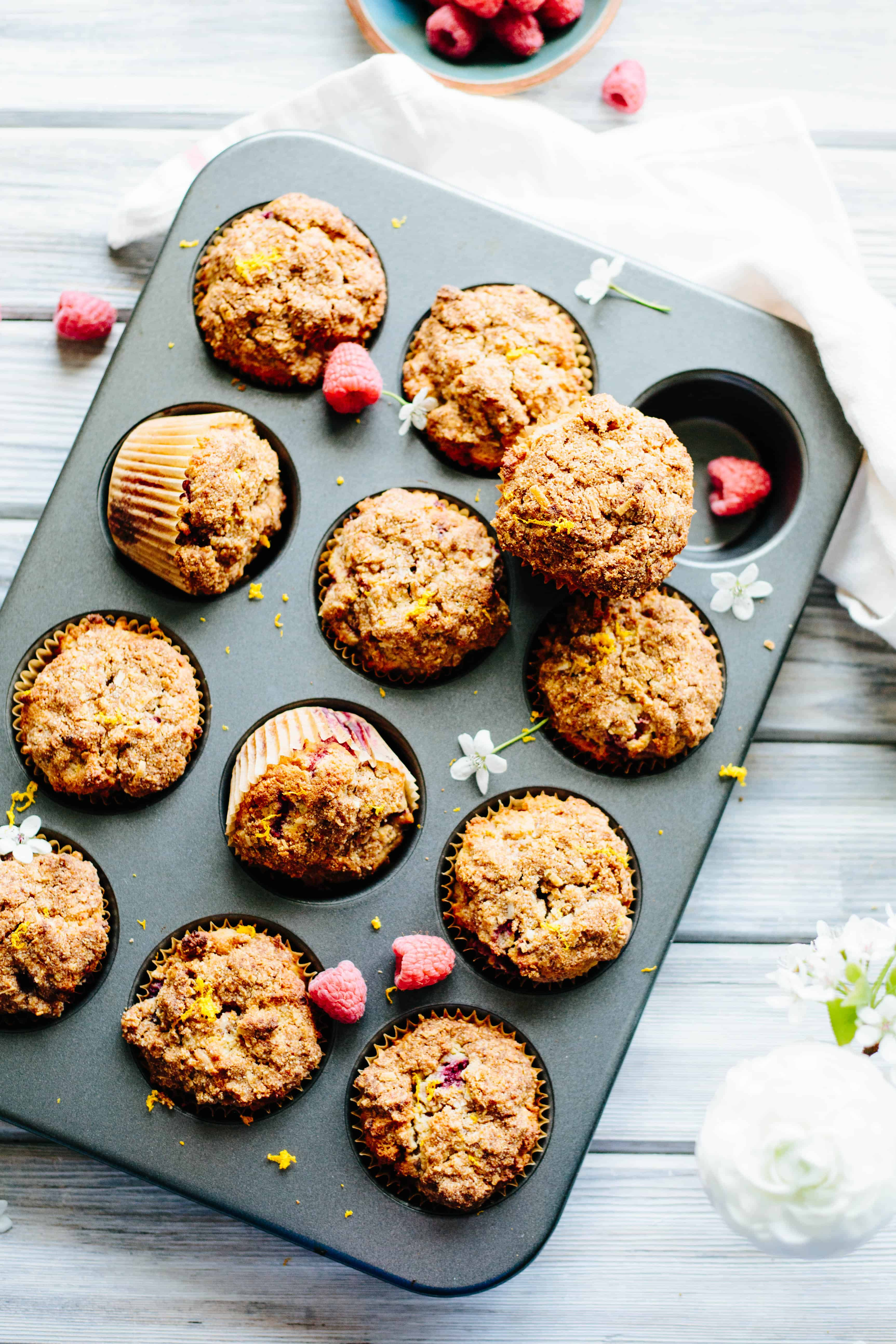 These Paleo Orange Raspberry Crumb Muffins are dairy free, gluten free, grain free and refined sugar free, but taste like a yummy treat! #easy #paleo #muffin #raspberry #orange #crumb #recipe #healthy | ColeyCooks.com