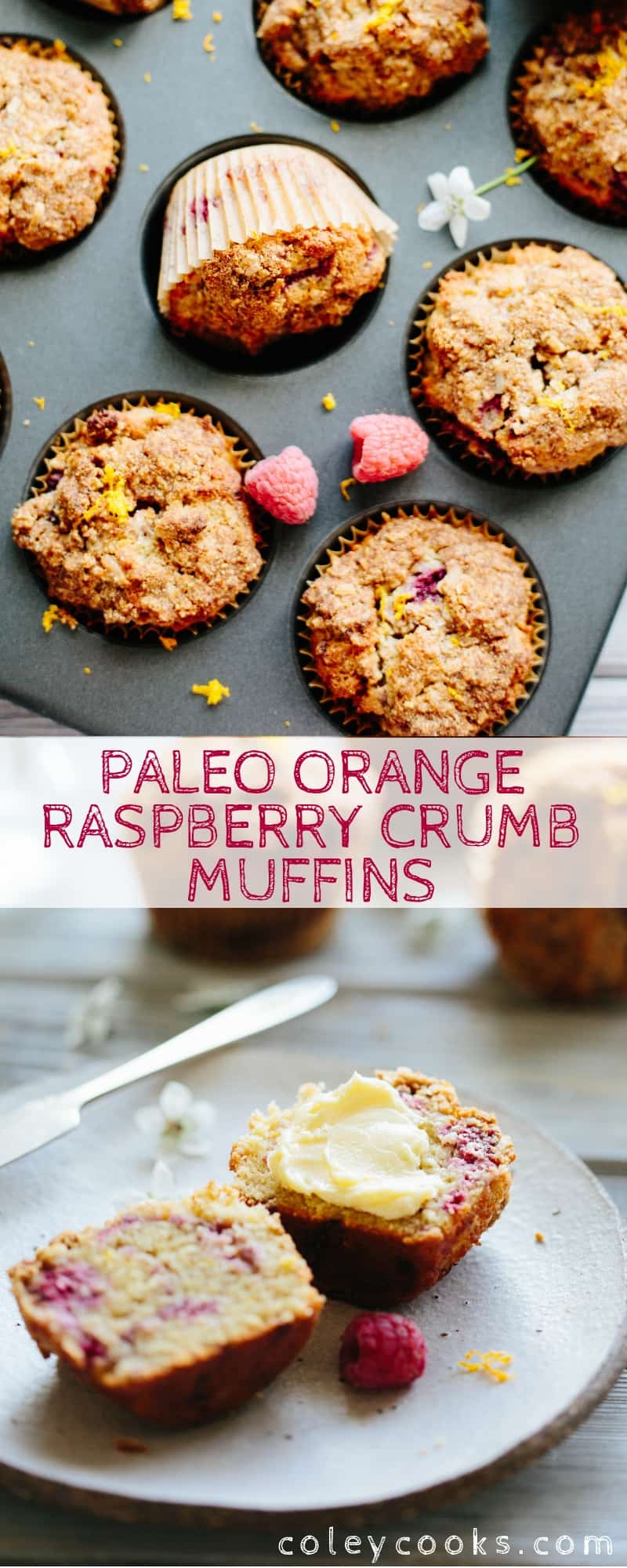 Pinterest collage of Paleo orange raspberry crumb muffin recipe.