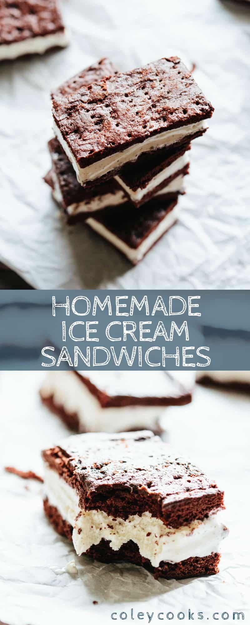Pinterest collage of homemade ice cream sandwich recipe.