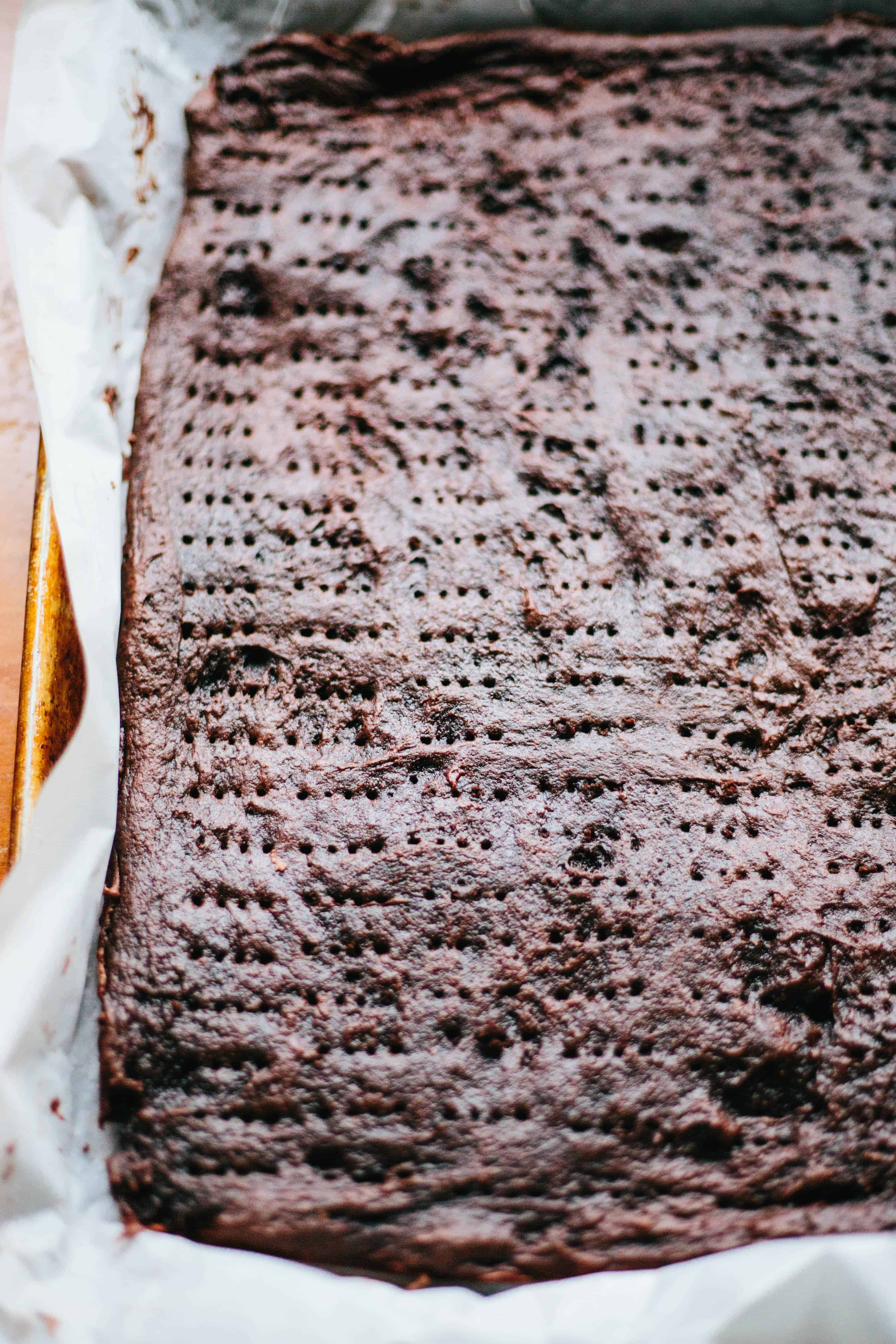Giant baked chocolate sheet cookie for homemade ice cream sandwiches