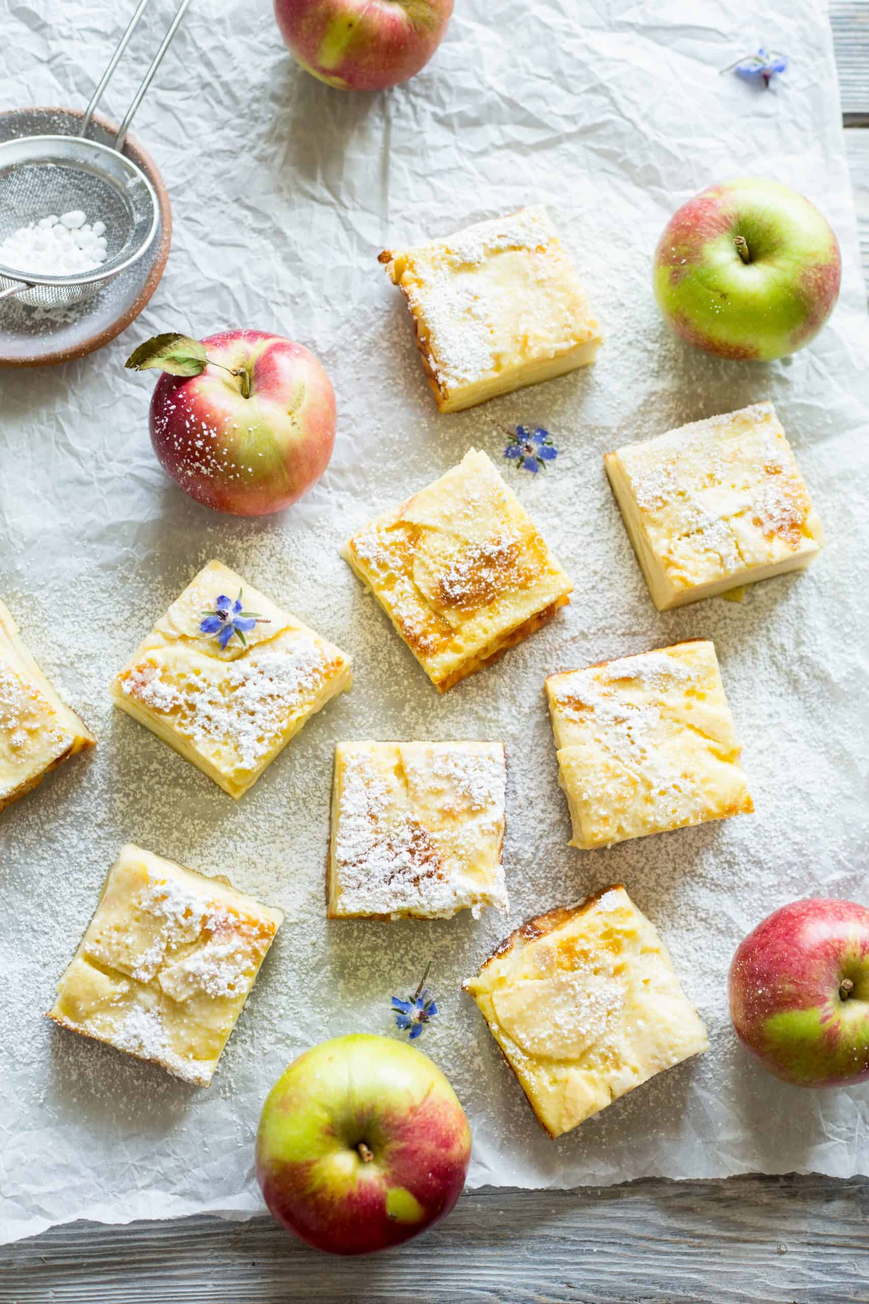 Apple Custard Bars are the ultimate back-to-school treat! In-season thinly sliced apples get layered into a thick, creamy custard. Easy, healthy, delicious! #easy #apple #custard #bars #dessert #recipe | ColeyCooks.com