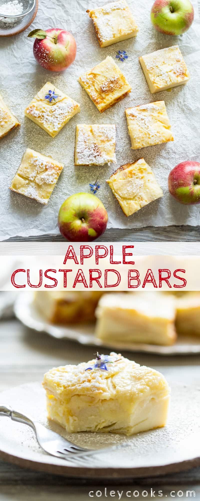 Pinterest collage of an apple custard bar recipe.