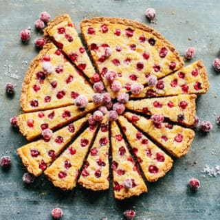 Sliced cranberry tart