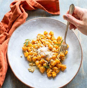 sweet potato gnocchi on a fork