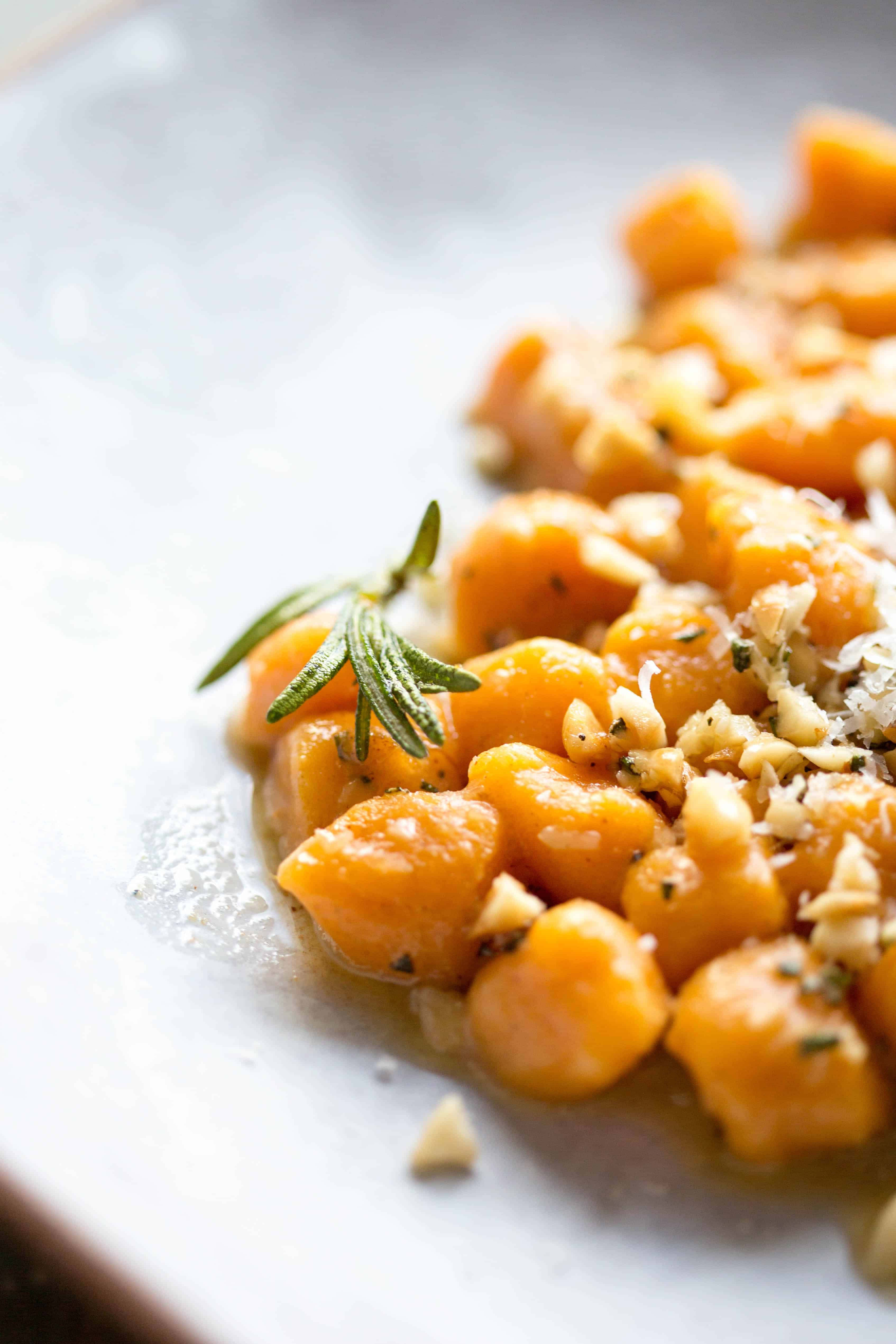 sweet potato gnocchi with brown butter rosemary and hazelnuts