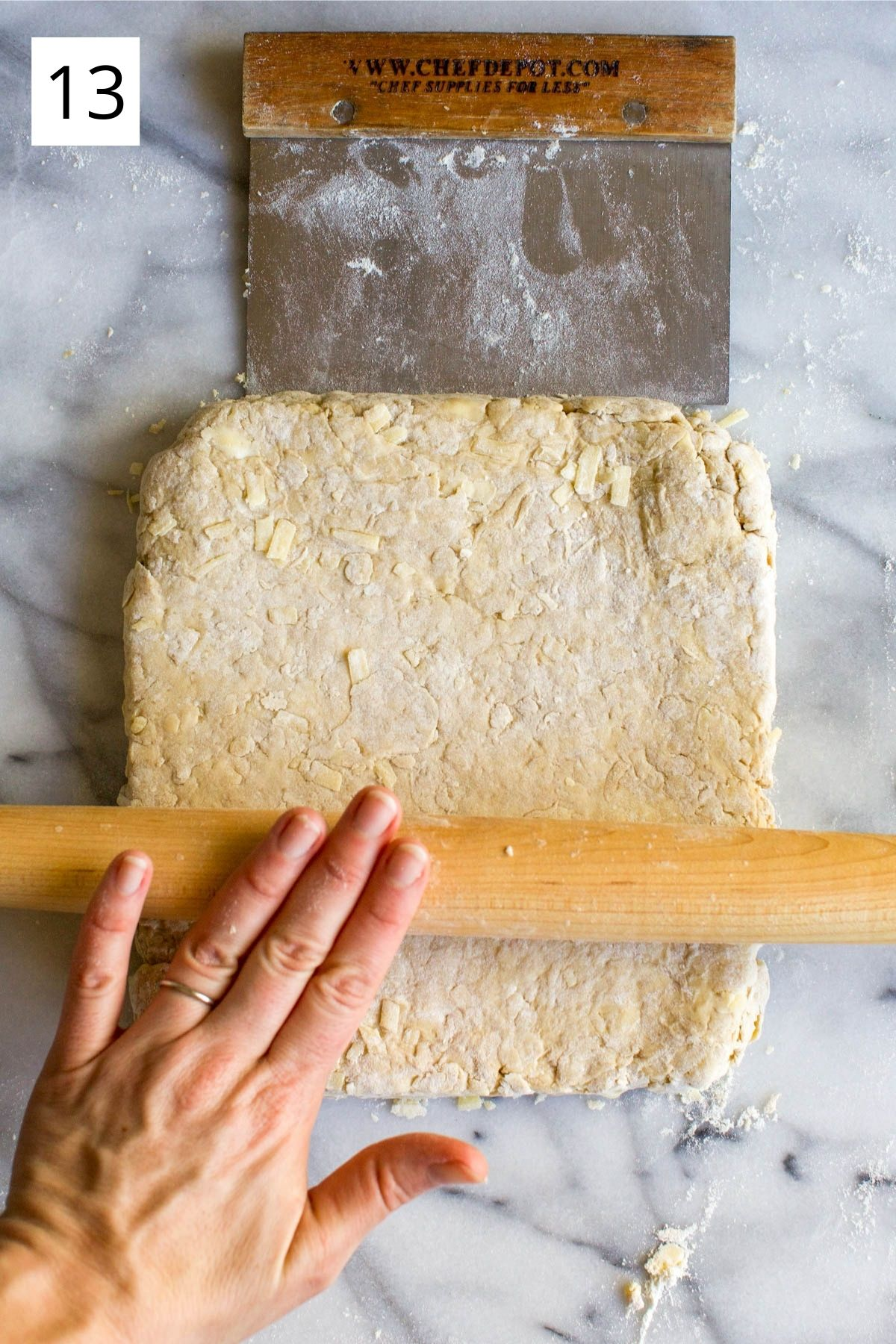 rolling dough into a square